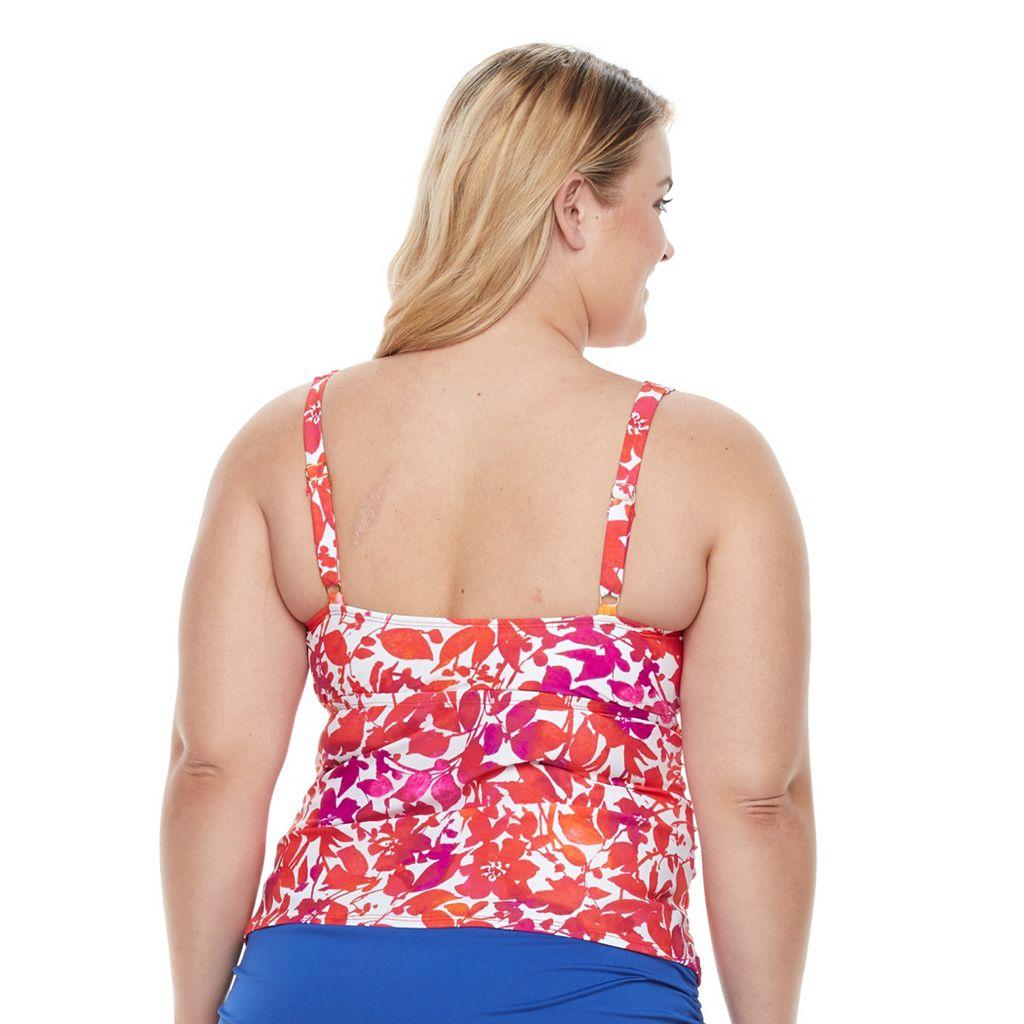 Plus Size Chaps Tummy Slimmer Twist-Front Tankini Top