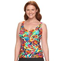 Plus Size Chaps Tummy Slimmer Twist-Front Tankini Top