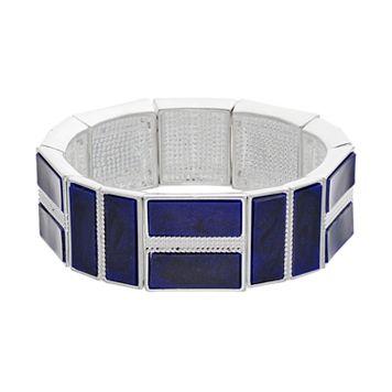 Chaps Blue Rectangular Stretch Bracelet