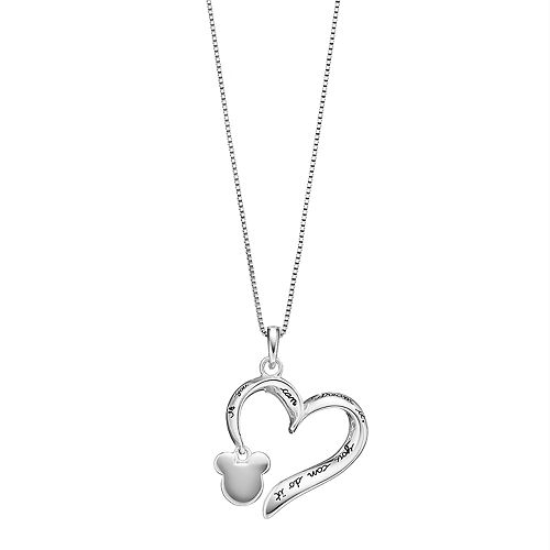 Disney's Mickey Mouse Heart Pendant by Timeless Sterling Silver