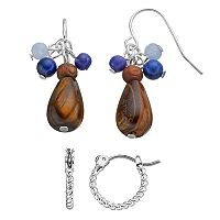 Chaps Nickel Free Simulated Tiger's Eye Beaded Drop & Hoop Earring Set