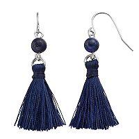 Chaps Blue Tassel Nickel Free Drop Earrings
