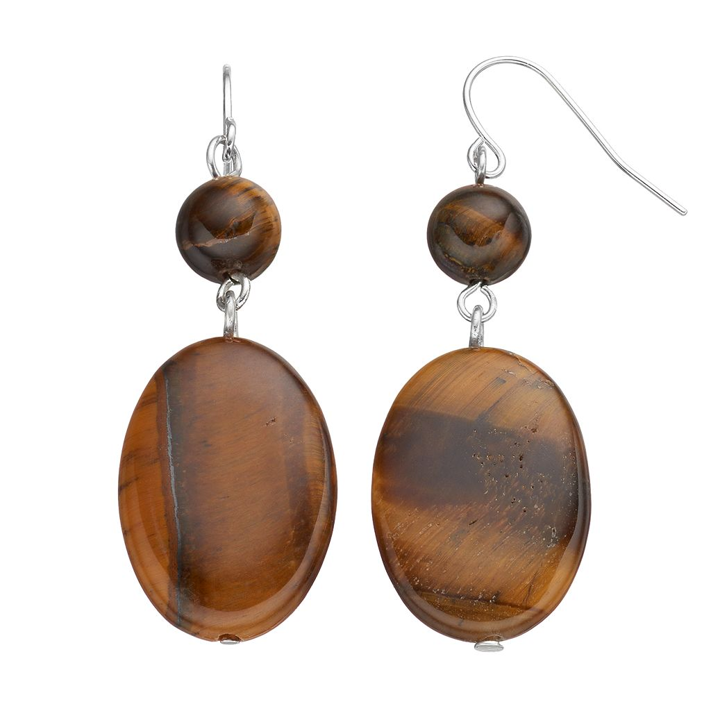 Chaps Simulated Tiger's Eye Nickel Free Oval Drop Earrings