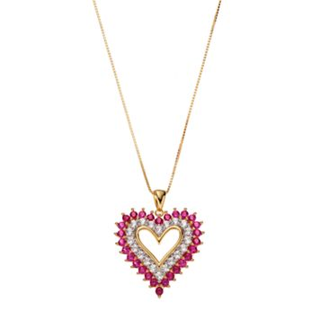 14k Gold Over Silver Lab-Created Ruby & White Sapphire Heart Pendant