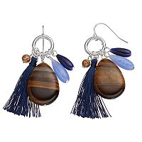 Chaps Simulated Tiger's Eye Beaded Nickel Free Tassel Drop Earrings