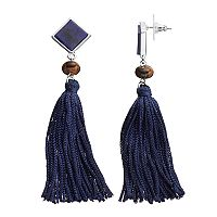Chaps Simulated Tiger's Eye Nickel Free Blue Tassel Drop Earrings