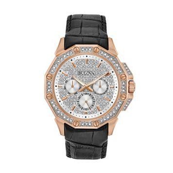 Bulova Men's Crystal Black Leather Watch - 98C125