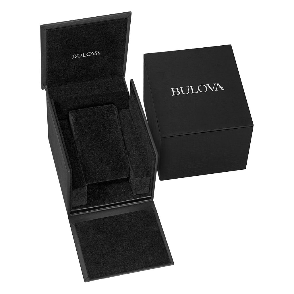 Bulova Men's Crystal Black Leather Watch - 98C125