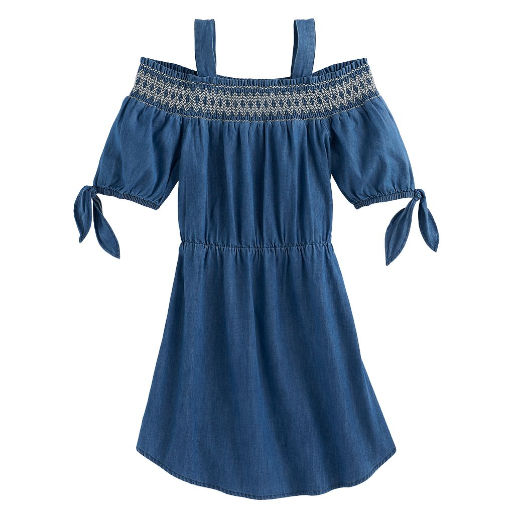 Girls 7-16 My Michelle Smocked Chambray Off Shoulder Dress