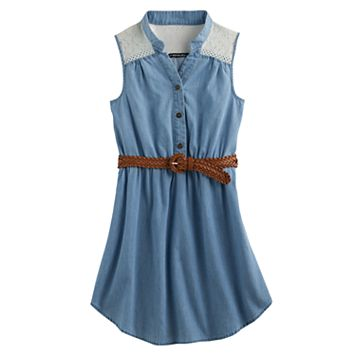 Girls 7-16 My Michelle Lace Yoke Chambray Shirtdress