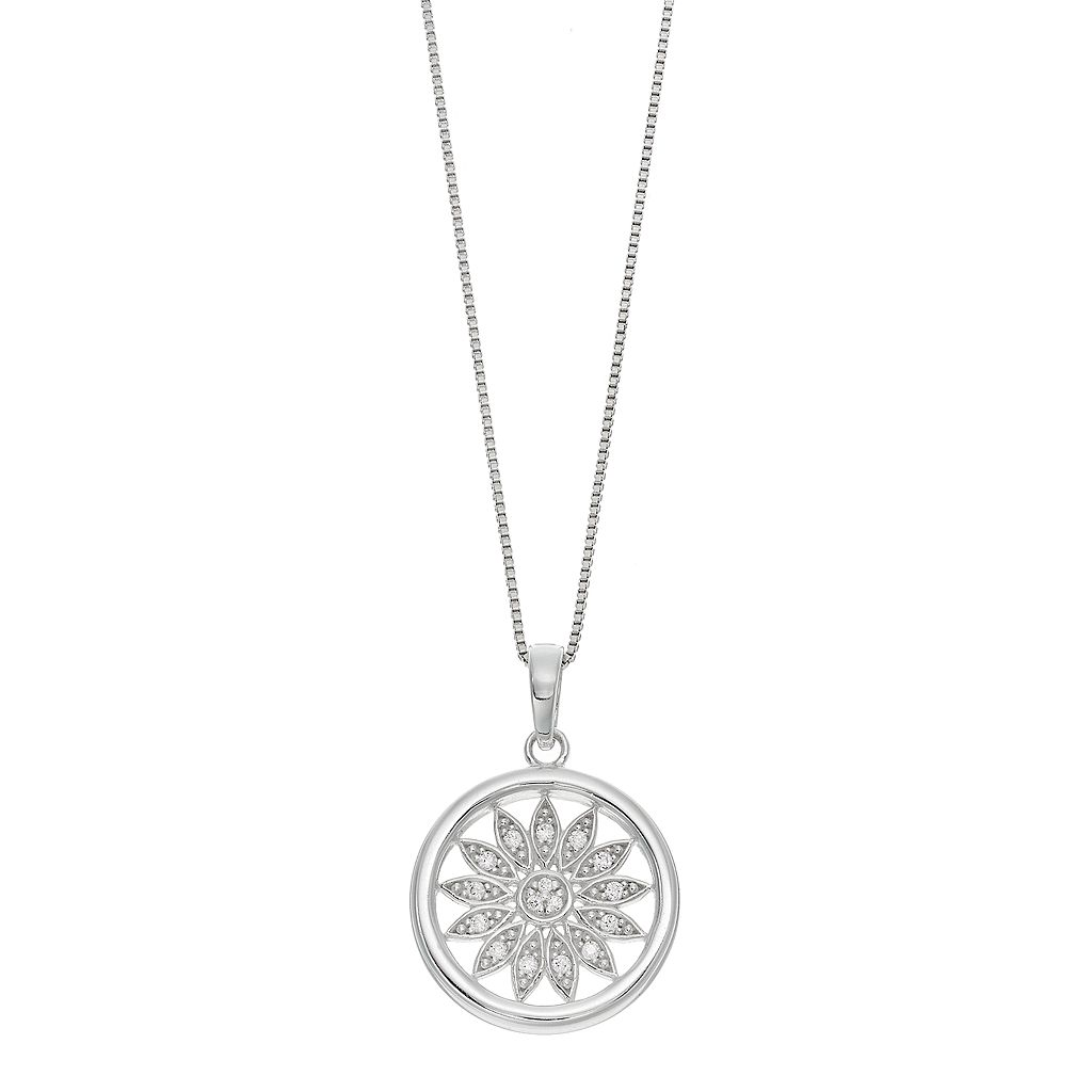 Timeless Sterling Silver Cubic Zirconia Sun Pendant Necklace