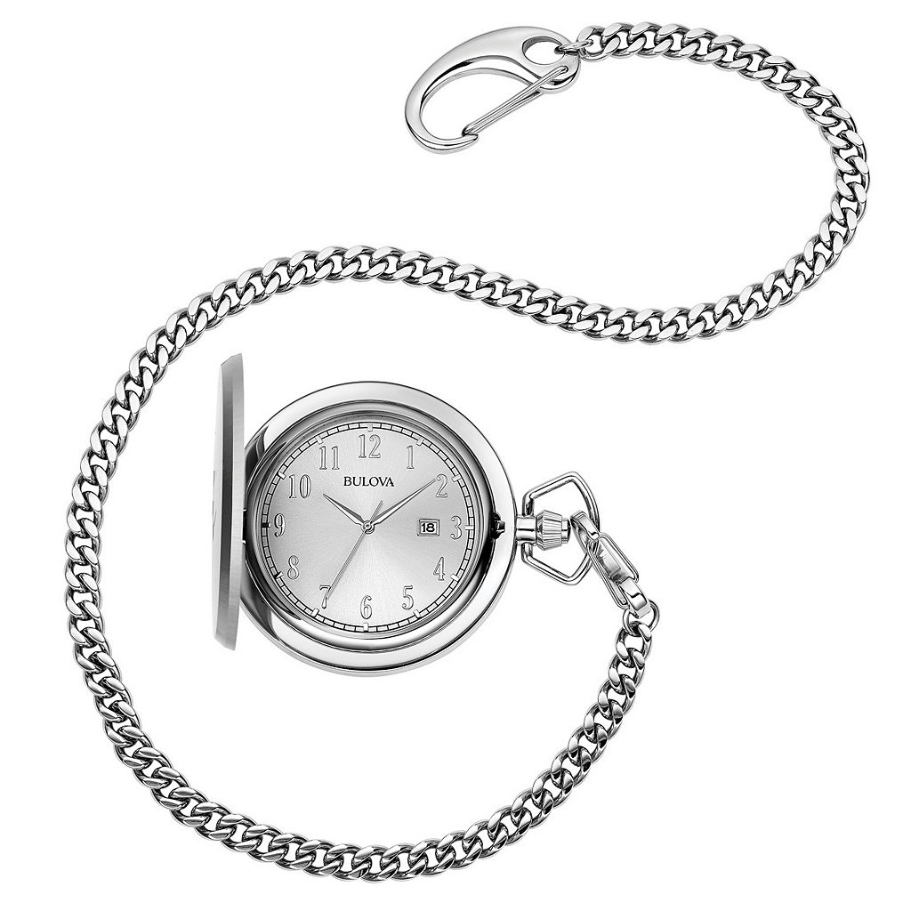 Bulova Men's Classic Stainless Steel Pocket Watch - 96B270