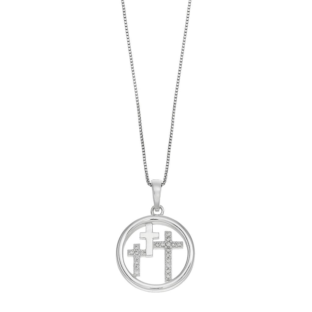 Timeless Sterling Silver Cubic Zirconia Cross Pendant Necklace