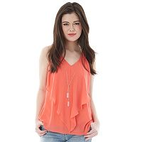 Juniors' IZ Byer California Cutout Ruffle Tank