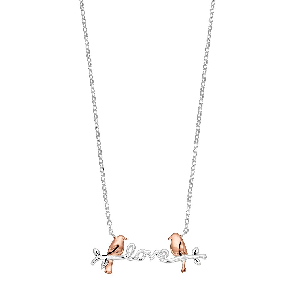 Timeless Sterling Silver Two Tone Love Birds Necklace
