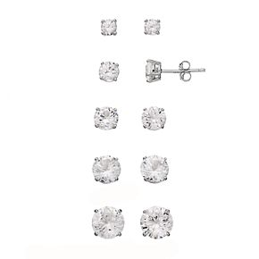 Sterling Silver Lab-Created White Sapphire Stud Earring Set