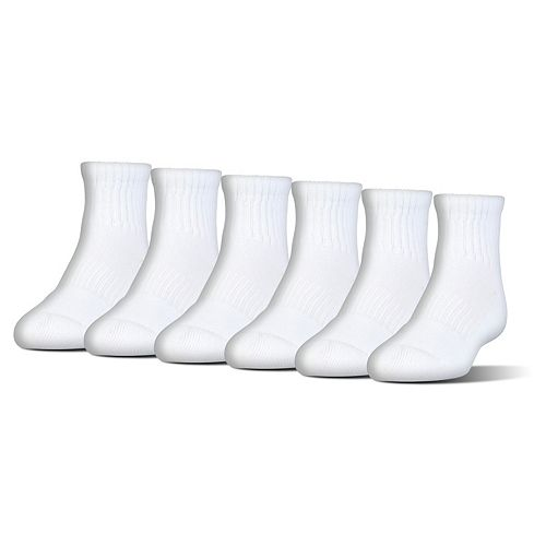 New Under Armour Youth Boys 6-Pack Cotton 2.0 Crew Socks Choose Color /& Size