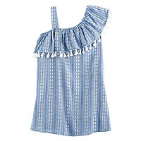 Girls 7-16 My Michelle Asymmetrical One-Shoulder Chambray Dress