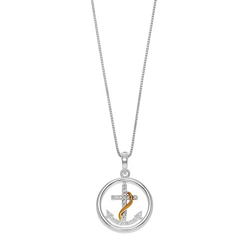 Timeless Sterling Silver Two Tone Cubic Zirconia Anchor Pendant Necklace