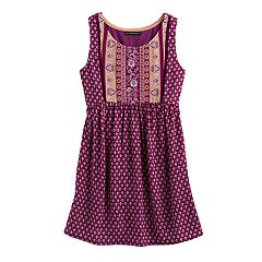 Girls 7-16 My Michelle Printed Tie-Back Dress