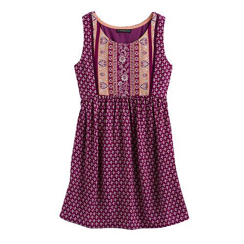 Girls 7-16 My Michelle Printed Tie-Back Dress