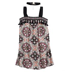 Girls 7-16 My Michelle Printed Tank Trapeze Dress with Choker Necklace