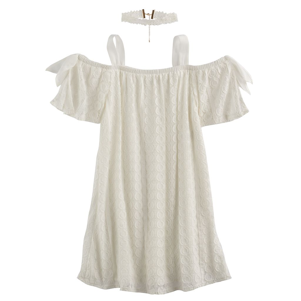 Girls 7-16 My Michelle Crochet Off Shoulder Trapeze Dress with Chocker Necklace
