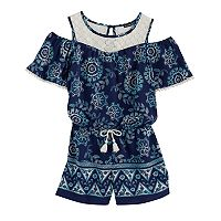 Girls 7-16 My Michelle Cold Shoulder Crochet Romper