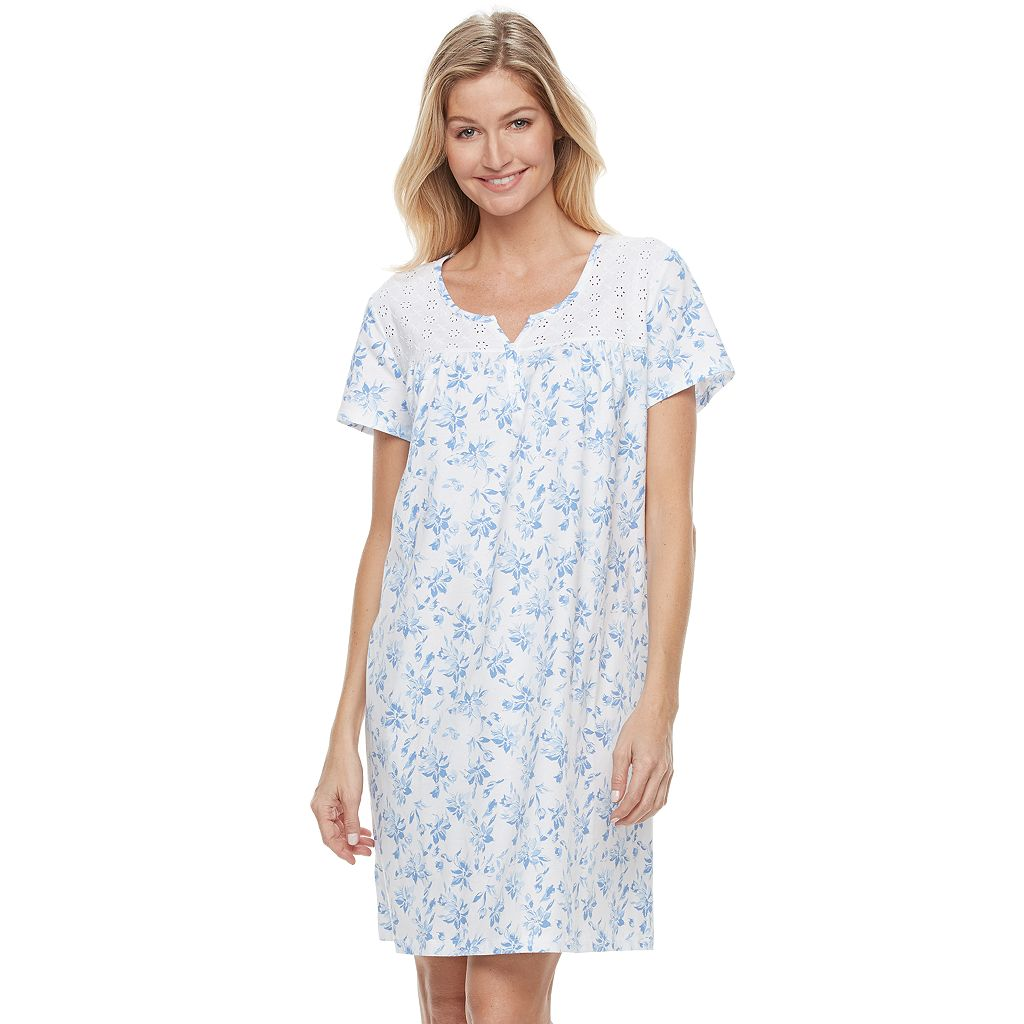 Women's Croft & Barrow® Pajamas: Short Sleeve Eyelet Sleep Shirt
