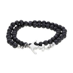 LYNXMen's Stainless Steel Black Lava Bead Anchor Wrap Bracelet