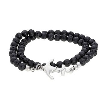 LYNX Men's Stainless Steel Black Lava Bead Anchor Wrap Bracelet