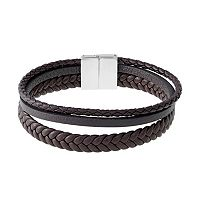 LYNX Men's Stainless Steel & Braided Brown Leather Bracelet
