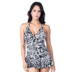 Women's Chaps Tummy Slimmer Ruched Swimdress