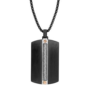 LYNX Men's Stainless Steel Cable Chain Dog Tag Necklace