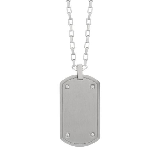 LYNX Men's Cubic Zirconia Stainless Steel Dog Tag Necklace