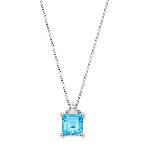 Sterling Silver Blue & White Topaz Square Pendant Necklace