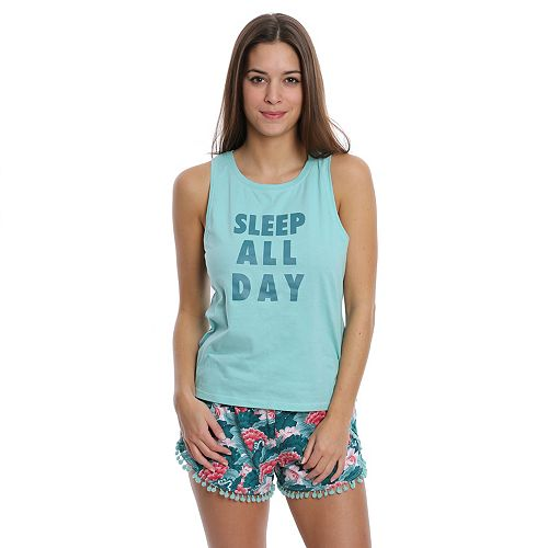 Juniors' Wallflower Pajamas: Tank & Pom-Pom Shorts PJ Set