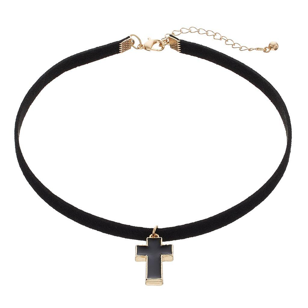 Men's Black Faux Leather Cross Choker Necklace