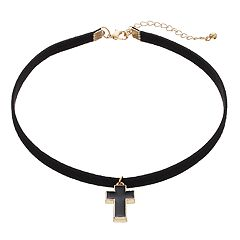 Men's Black Faux Leather Cross Choker Necklace