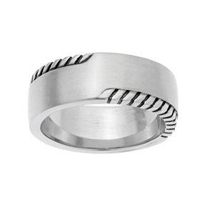 LYNXMen's Stainless Steel Grooved Ring