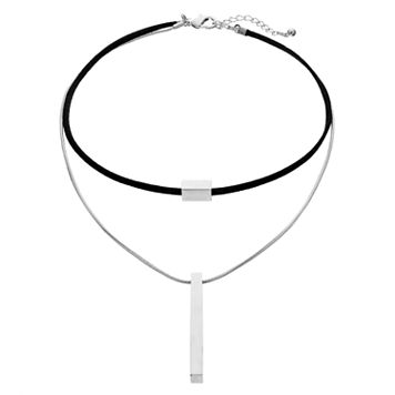 Men's Black Faux Suede Double Strand Bar Choker Necklace