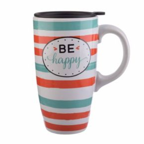 """Be Happy"" 20-oz. Latte Mug with Lid"