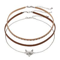Men's Fox Studded Choker Necklace Set