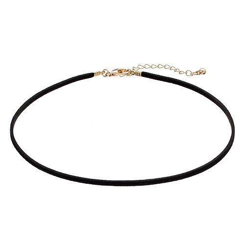 Men's Black Faux Suede Choker Necklace