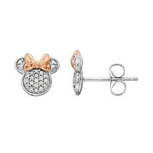 Disney's Minnie Mouse 1/10 Carat T.W. Diamond Stud Earrings by Timeless Sterling Silver