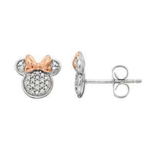 Disney's Minnie Mouse 1/10 Carat T.W. Diamond Stud Earrings by Timeless Sterling Silver