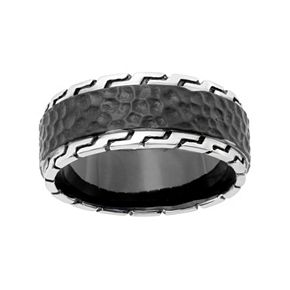 LYNX Men's Stainless Steel Hammered & Grooved Ring