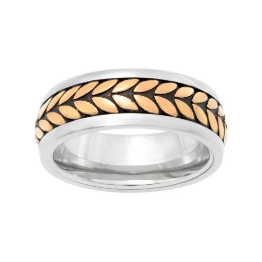 LYNXMen's Tri Tone Stainless Steel Tread Ring