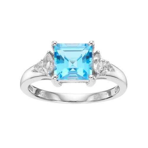 Sterling Silver Blue & White Topaz Ring