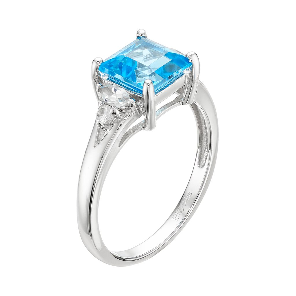 Sterling Silver Blue & White Topaz Ring